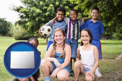 colorado map icon and a summer soccer camp