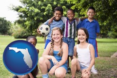 florida map icon and a summer soccer camp