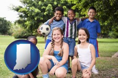 indiana map icon and a summer soccer camp
