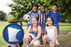 minnesota map icon and a summer soccer camp