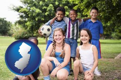 new-jersey map icon and a summer soccer camp