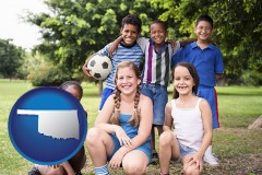oklahoma map icon and a summer soccer camp