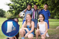 rhode-island map icon and a summer soccer camp