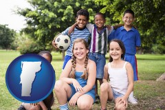 vermont map icon and a summer soccer camp