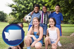 washington map icon and a summer soccer camp